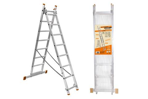 Лестница алюминиевая, ЛА2х7, 2х секционная х 7 ступеней, h=2880 мм, Народная