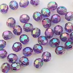 Бусина акриловая шарик с огранкой фиолетовый с AB покрытием 8 мм, 10 штук