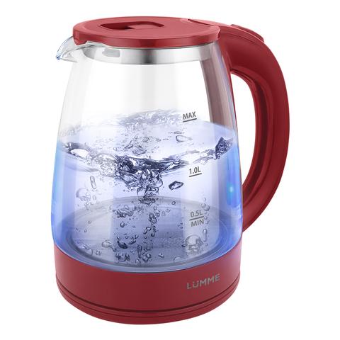 Чайник стеклянный LUMME LU-160 бордовый гранат