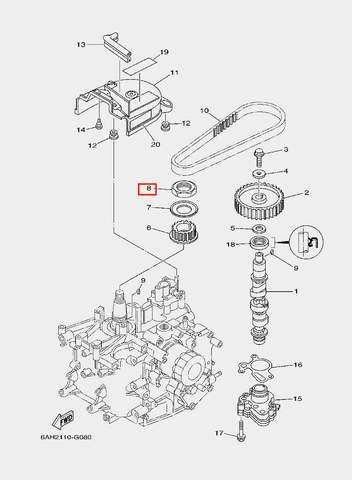 Шестерня ведущая распредвала для лодочного мотора F20 Sea-PRO (8-6)