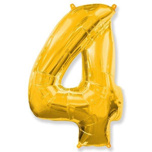Фольгированная цифра 4, золото