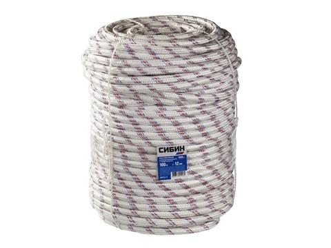 Фал плетёный полипропиленовый СИБИН 24-прядный с полипропиленовым сердечником, диаметр 12 мм, бухта 100 м, 1000 кгс