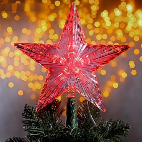 Звезда на ёлку Светящаяся Белая-Красная 22х22 см