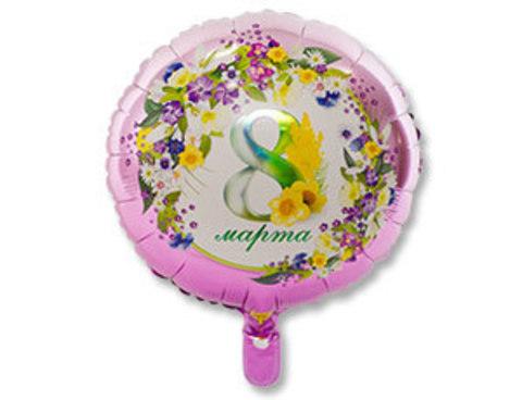 Фольгированный шар  8 МАРТА Цветы