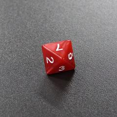 Красный мраморный восьмигранный кубик (d8) для ролевых и настольных игр