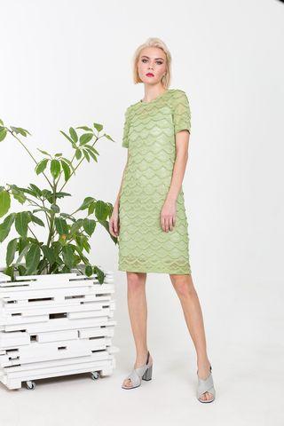 Фото мятное кружевное платье 2 в 1 прямого силуэта - Платье З355-179 (1)
