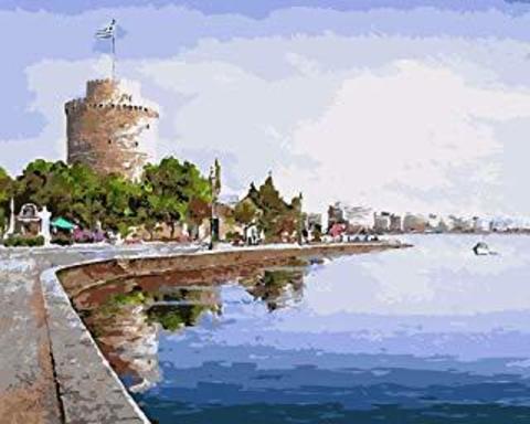 Картина раскраска по номерам 50x65 Город на набережной
