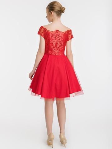 Коктейльное платье с пышной юбкой и кружевным топом, красное 2
