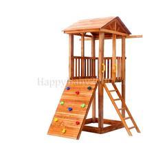 Детская площадка М3-0 с широким скалодромом и деревянной крышей