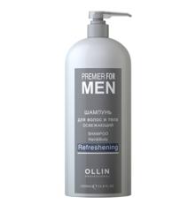 OLLIN premier for men шампунь для волос и тела освежающий 1000мл/ shampoo hair&body refreshening