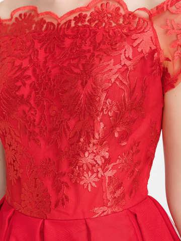 Коктейльное платье с пышной юбкой и кружевным топом, красное 3