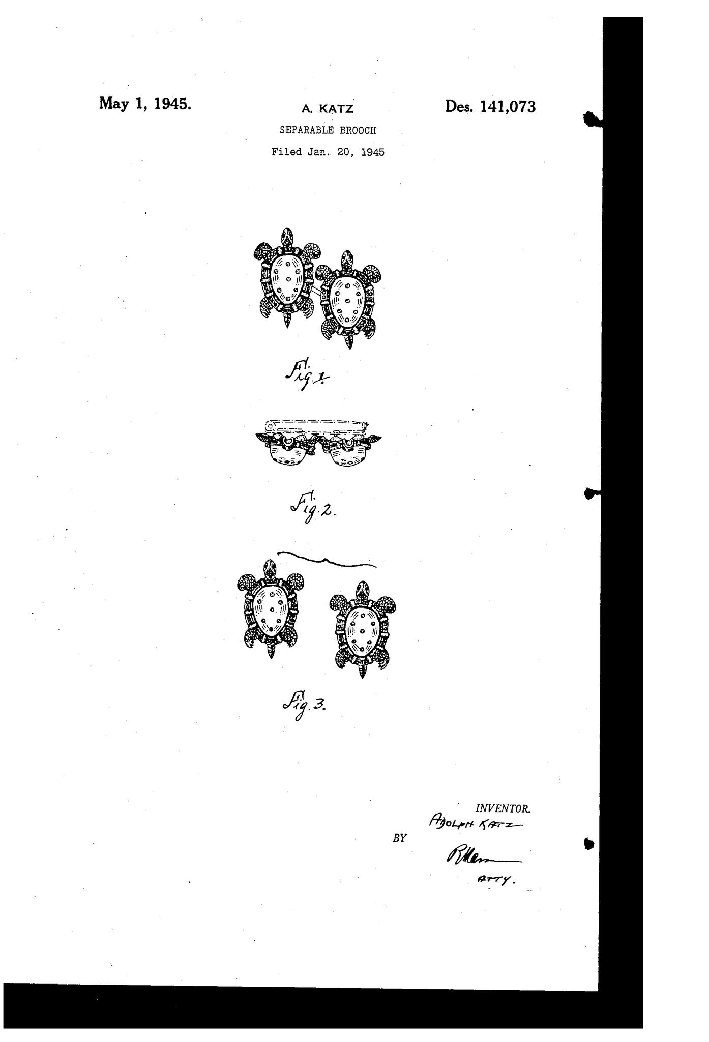"Коллекционная брошь Jelly Belly  ""Черепахи"" из серии Duettes от Coro, 1945 год. Book piece"