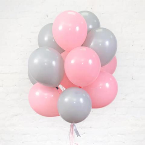 25 шаров 36 см серый и розовый