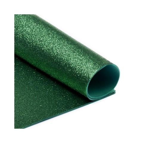 Глиттерный фоамиран. Цвет: темно-зеленый
