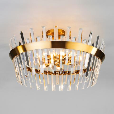 Потолочная люстра с хрусталем 10111/8 золотая бронза/прозрачный хрусталь Strotskis