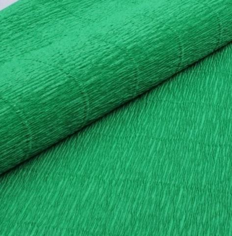 Бумага гофрированная, цвет 963 зеленый, 140г, 50х250 см, Cartotecnica Rossi (Италия)
