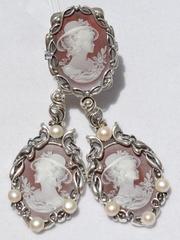 Камея в шляпке Ж(кольцо + серьги из серебра)