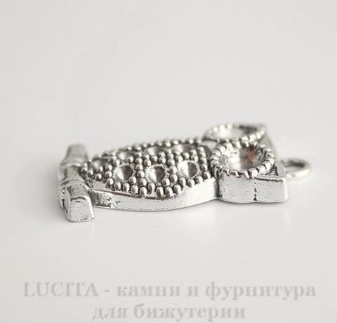 "Подвеска ""Сова на ветке"" (цвет - античное серебро) 35х20 мм"