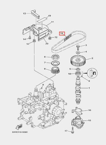 Ремень ГРМ для лодочного мотора F20 Sea-PRO (8-10)