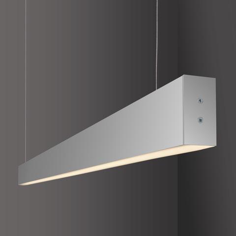 Линейный светодиодный подвесной односторонний светильник 128см 25Вт 6500К матовое серебро LS-01-1-128-6500-MS