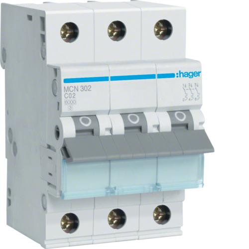Автоматический выключатель 3P, C-2A, 6kA