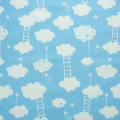 Ткань хлопковая облачка с лесенками на голубом