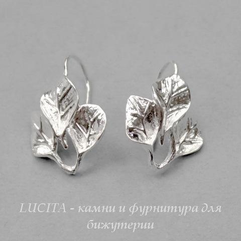 "Швензы - крючки ""Три листика"", 22х15 мм (цвет - светлое серебро), пара"