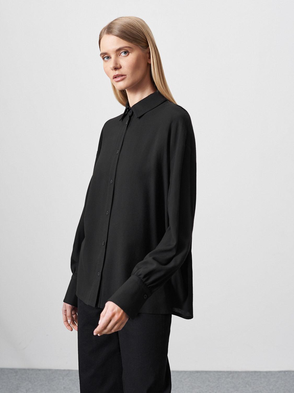 Блуза Lily с широкими рукавами и сборками, Черный