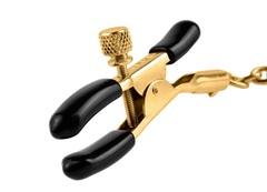 Чёрные с золотом зажимы на соски Gold Chain Nipple Clamps -