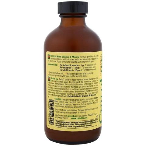 ChildLife, Незаменимые мультивитамины и минеральные элементы со вкусом апельсина/манго, 8 жидких унций (237 мл)
