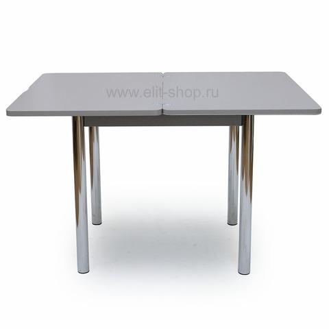 Стол ЧИНЗАНО М-2 СТ-2 Серый с белым/ графический рисуок / опора №02 хром / 60(120)х80см