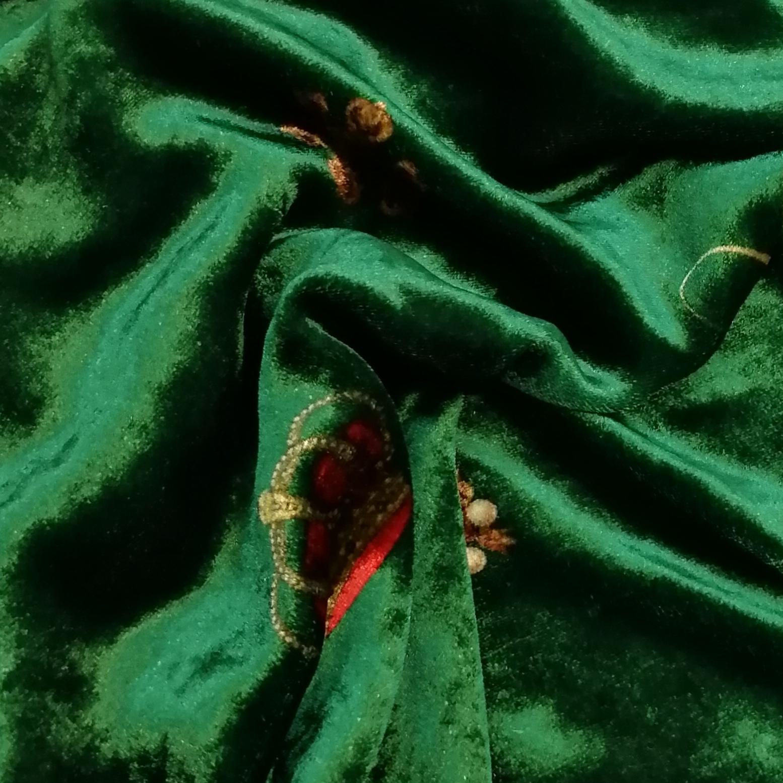 Темно-зеленый вискозно-шелковый бархат с печатью