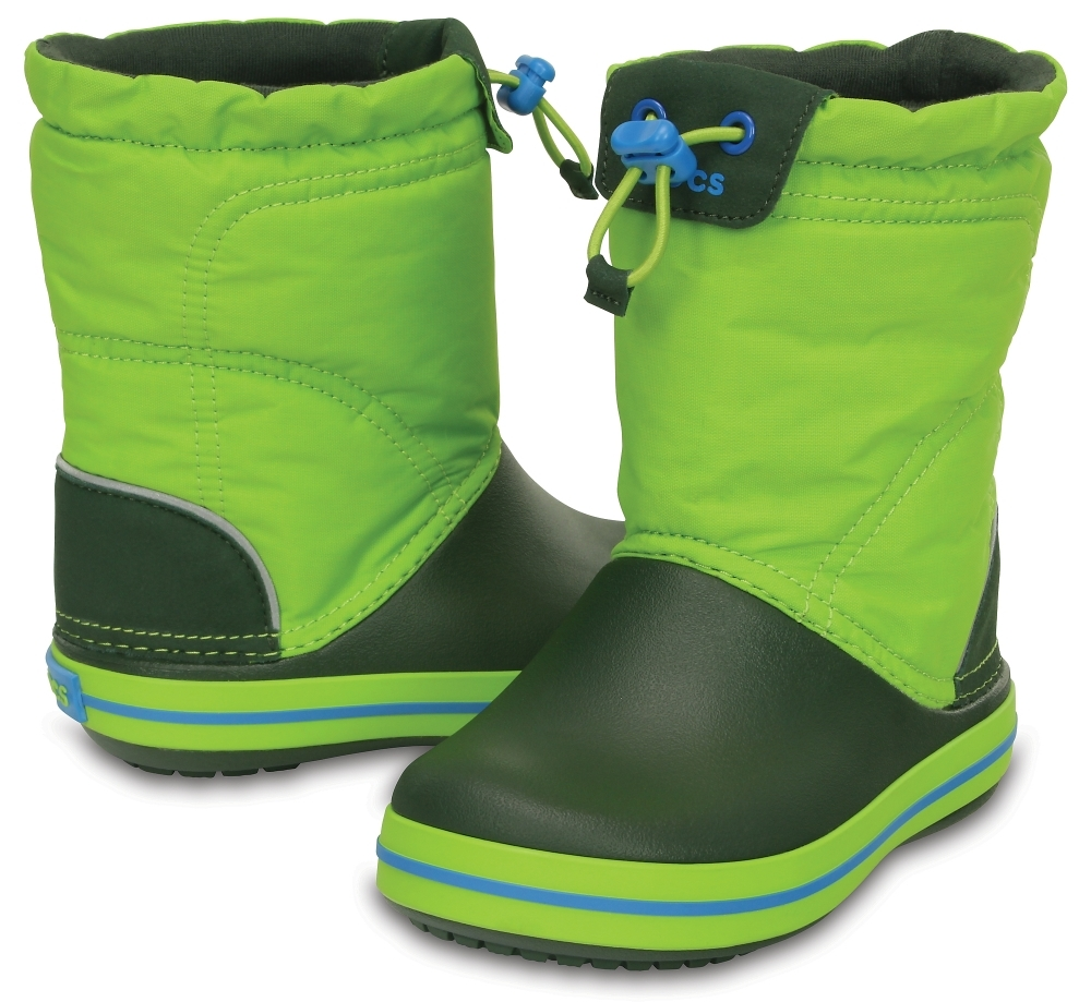 Детские сапожки Kids' Crocband LodgePoint Boot Lime/Forest Green кроксы фото 203509