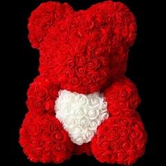 Мишка из 3d роз с сердцем 40см