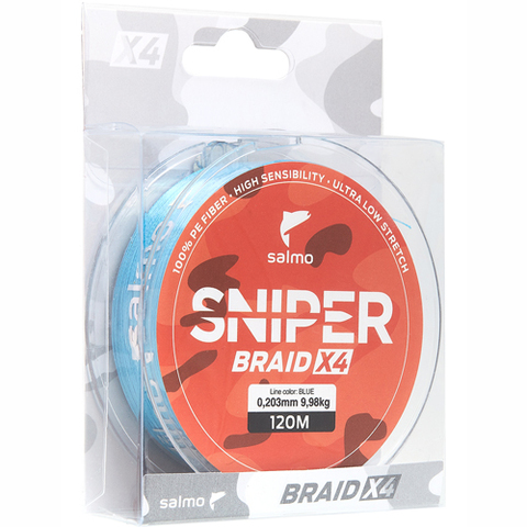 Плетеный шнур SALMO Sniper BRAID Blue 120m - 0,20