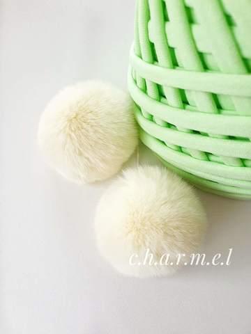 Помпоны, Кролик 5-6 см, цвет Нежно-лимонный, 2 шт