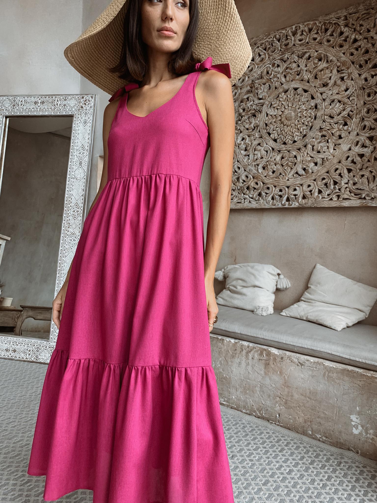 Платье миди (лен) с бантами на плечах (фуксия)