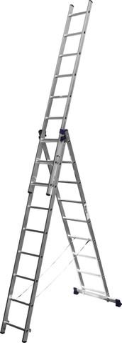 Лестница СИБИН универсальная, трехсекционная со стабилизатором, 9 ступеней
