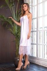 Элегантная длинная сорочка с кружевом Evelin белая
