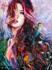 Картина раскраска по номерам 40x50 Девушка с птицей большими мазками