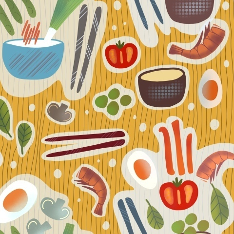 Лапш с креветками и овощами