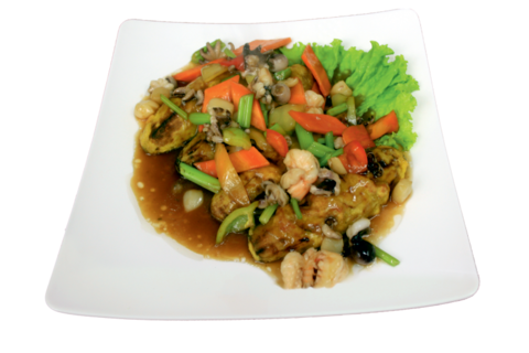 9-2Баклажаны под соусом из морепродуктов 三鲜茄伐 400гр