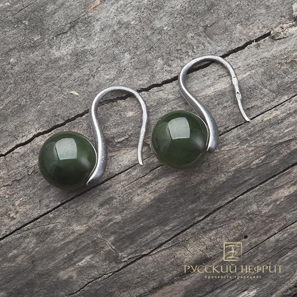 """Серьги Серьги """"Perlus"""" с зелёным нефритом. Серебро с фактурой. sergi_perlus_zel_site.jpg"""