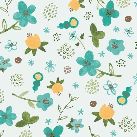 Тропические цветочки на голубом фоне