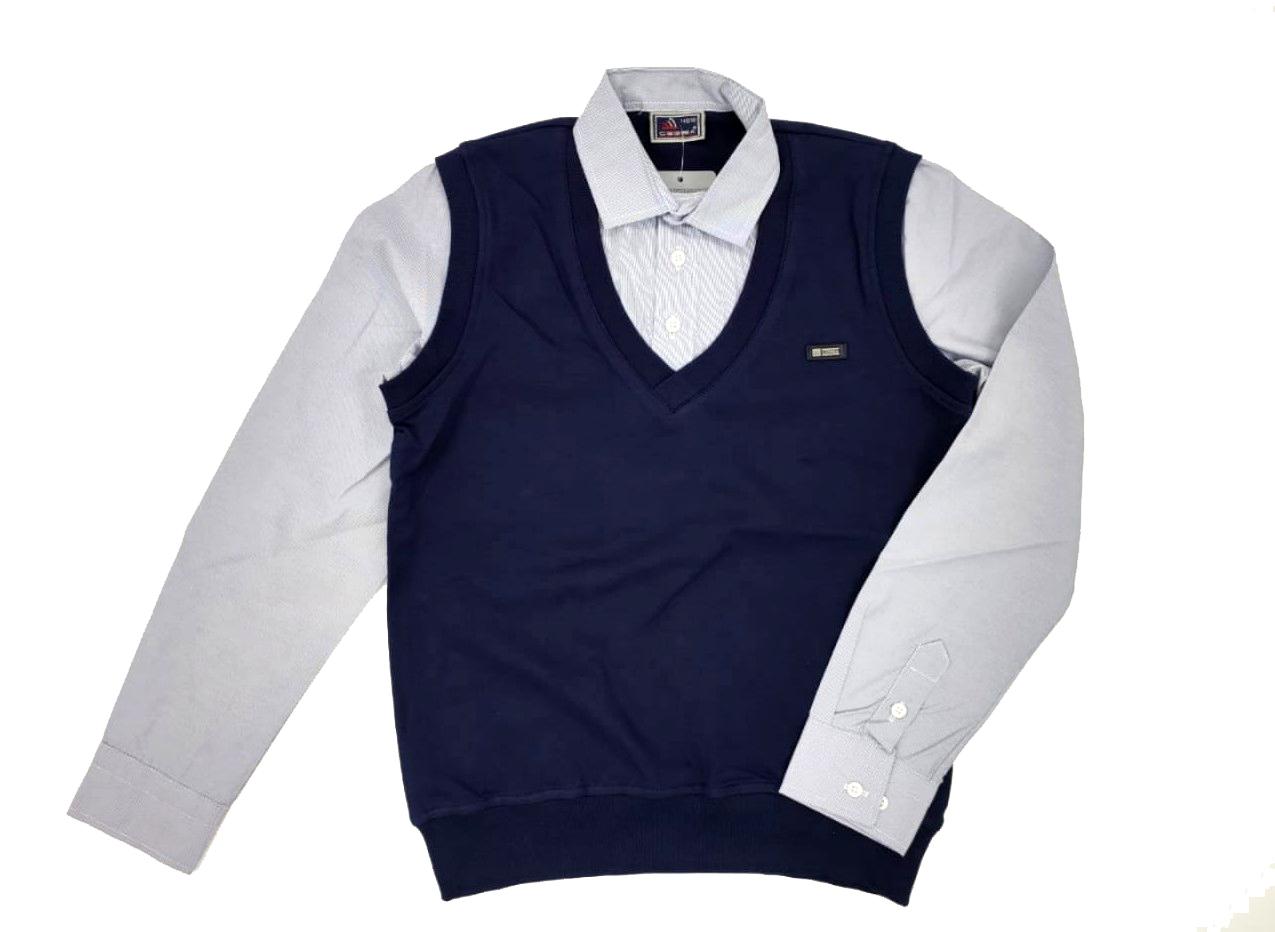 2564 джемпер с рубашкой-обманкой