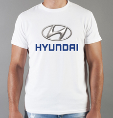 Футболка с принтом Хендай (Hyundai) белая 001