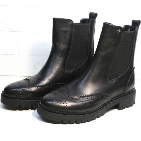 Кожаные ботинки челси женские. Высокие ботинки женские на низком каблуке Jina Leather Black