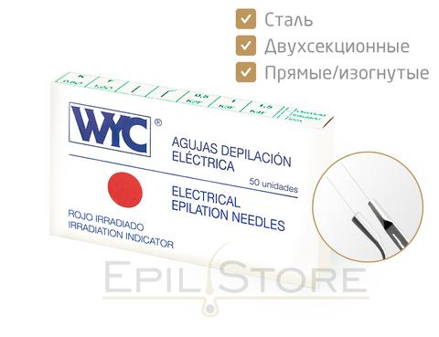 Стальные двухсекционные иглы для электроэпиляции WYC (ВИК) K2, K3, K4 - 50 штук