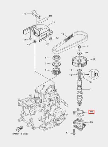 Прокладка помпы масляной для лодочного мотора F20 Sea-PRO (8-16)