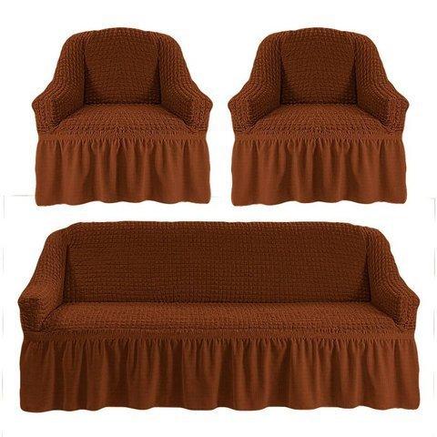 Комплект чехлов для дивана и двух кресел коричневый.
